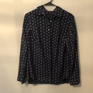 Talbots size 10 navy anchor long sleeve top